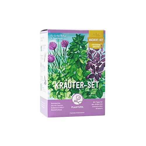 Plantura Kräuter-Anzuchtset, 5 Kräutersorten, Anzuchtset für die Fensterbank, Geschenkidee