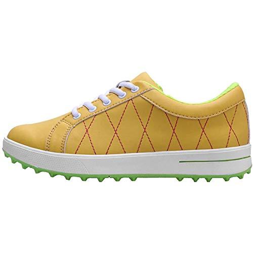 PLAYH Tênis feminino de golfe com cadarço, impermeável antiderrapante Golf Trainers Shoes Sport leve respirável tênis de corrida (cor: amarelo, tamanho: 38)