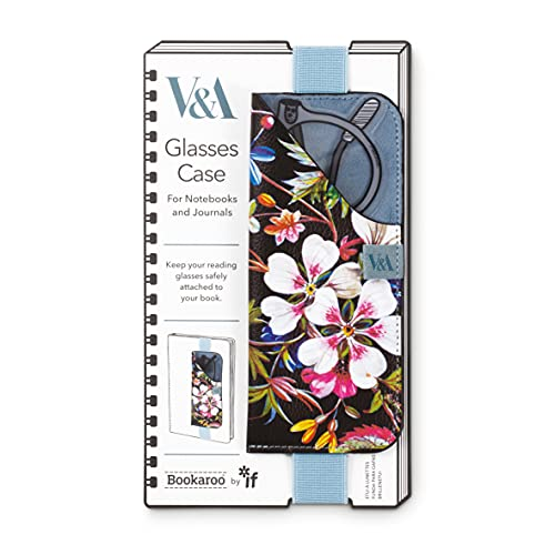 IF V&A - Funda para gafas de Bookaroo Kilburn con diseño de flores, color negro