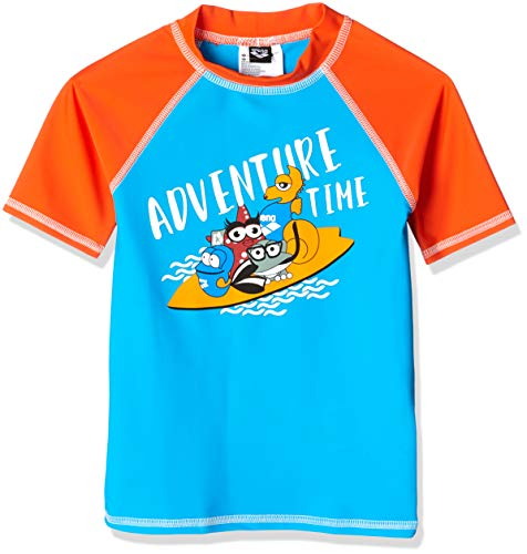 ARENA - Camiseta de Manga Corta para niños con protección UV, Niños, 002055, Turquoise-Nectarine, 19