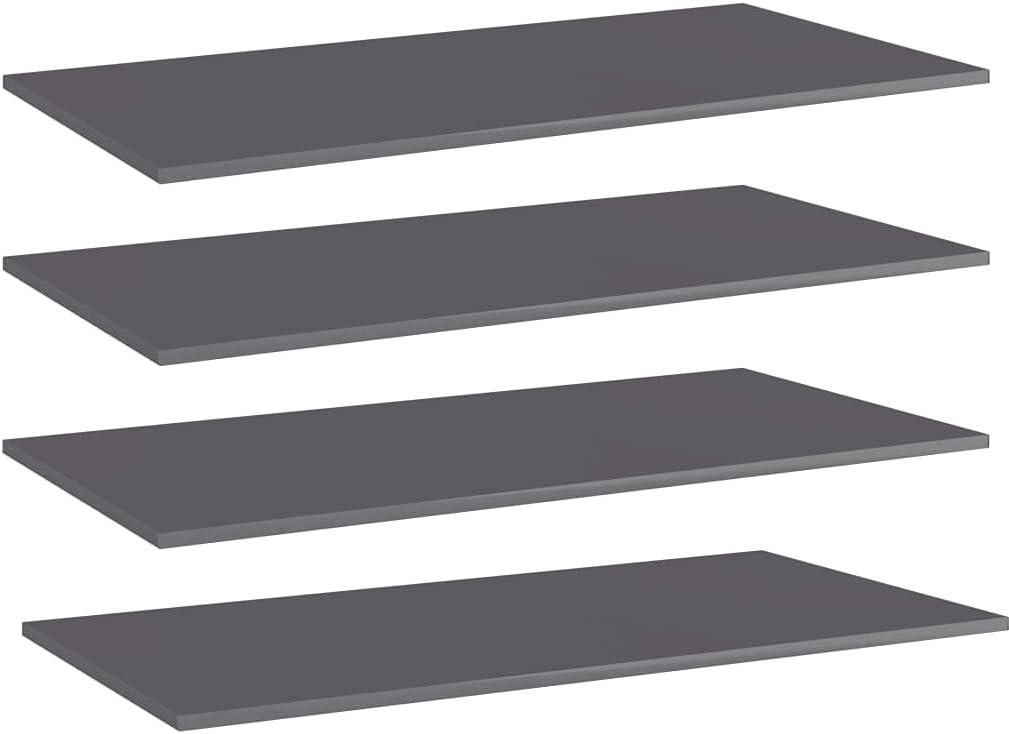 Furniking Bookshelf outlet Boards 4 pcs High Gloss Gray OFFicial shop 39.4