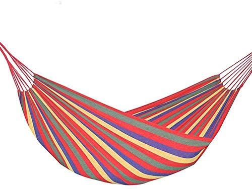 WYJW Hamaca Doble para Acampar, Hamaca Doble Persona Hamaca de algodón de Lona Extra Grande para Patio Porche Jardín Patio Trasero Descansando Rayas de Arco Iris al Aire Libre e Interiores
