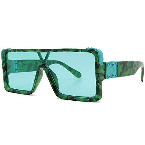 Gafas de sol de moda con montura de mármol verde de una pieza