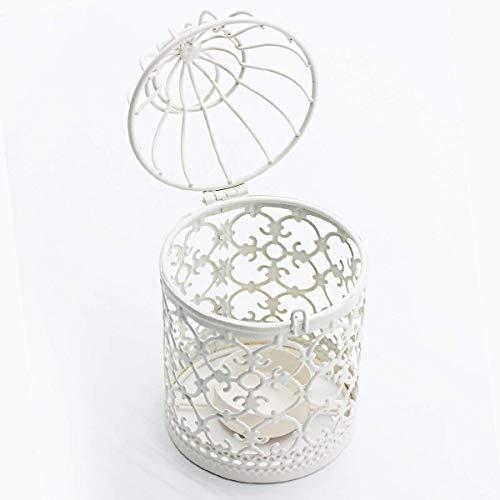 Kerzenhalter | Vogelkäfig, weiß - 3