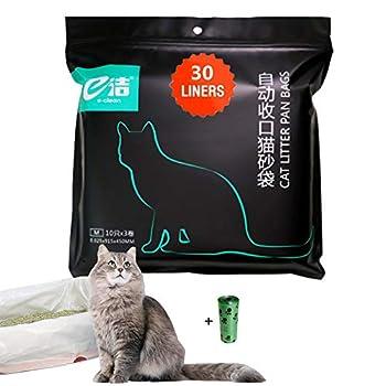 Moliwen 1 emballages de 30 Sacs à Litière 91.5 × 45 cm pour Chat, Sacs avec Poignées pour Bac à Litière de Moyenne et Grande Taille, 1 Rouleau (15 pièces) de Sac à ordures en Cadeau