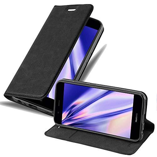 Cadorabo Hülle für Huawei NOVA 2 in Nacht SCHWARZ - Handyhülle mit Magnetverschluss, Standfunktion & Kartenfach - Hülle Cover Schutzhülle Etui Tasche Book Klapp Style