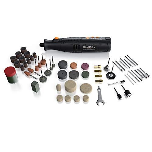 Brandson - Akku Multifunktionswerkzeug 8V - Drehwerkzeug mit 110 Zubehörteile - Fräser – Variable Drehzahl 5.000-25.000 U/min - zum Gravieren, Schleifen, Schärfen, Polieren - wie Dremel
