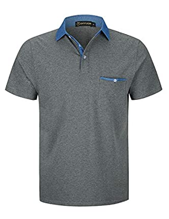 GHYUGR Polos Manga Corta Hombre Costura de Mezclilla Denim Camisas Slim Fit Camiseta Golf Poloshirt Oficina T-Shirt Verano Primavera,Gris Oscuro,XXL