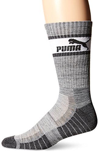 Puma Men's Crew Socks, 3 Pack (10-13, Heather Grey (3ZZ) / White/Dark Grey)