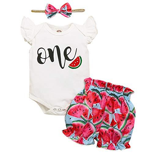Traje de cumpleaños para bebé con volantes y pantalones cortos de sandía y diadema, 3 piezas de ropa de verano, Sandía-B, 12-18 Meses