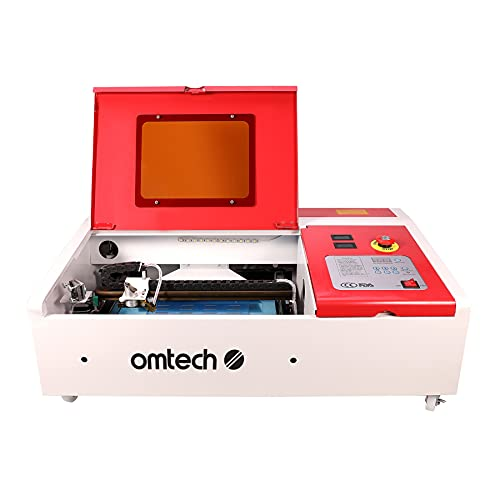 OMTech 40W Laser Engraver and Cutter | K40 Desktop Engraver with 8x12 Bed | CO2 Laser Engraving and Cutting Machine with Digital Controls Red Dot Pointer Wheels for DIY Woodwork and More | DF0812-40RW