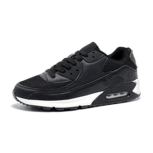 Zapatillas de Deportivas Mujer Zapatos para Correr Hombre Calzado Deportivo Sneakers Caminar Tenis Zapatillas de Running Fitness Malla Negro/Blanco EU40