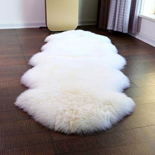 ABUSA Australian Sheepskin Rug Chair Cover Area Rug for Bedroom Living Room Light Yellow 2.2 x 7.8 feet(L:90-94 W:25-27inch