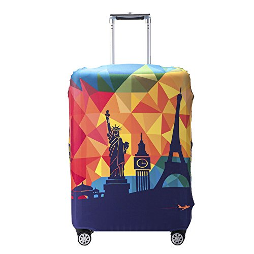 Ezeso Travel Luggage Protector Cover Elastic Stretch Fabric Spandex Suitcase Trolley Luggage Baggage Protection Case (XL (Fit 29'-32' Suitcase), Happy Travel)