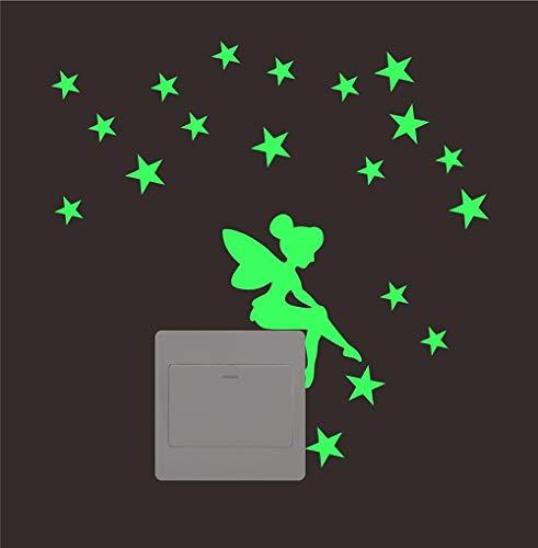 MXLON Estrellas de hadas Interruptores calcomanías de pared Pegatinas de fluorescencia Resplandor en la sala de estar oscura Dormitorio Etiquetas de pared extraíbles Murales
