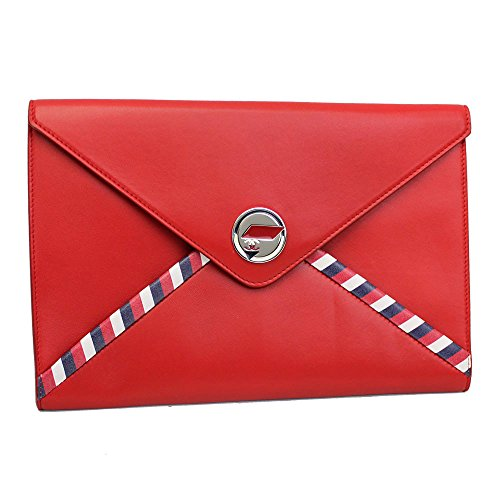 Chanel Airlmail Red Leather Pouch A82464 Y25399 2B425 Clutch Bag
