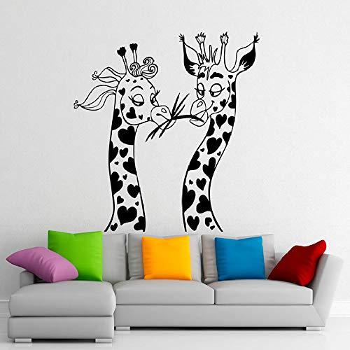 Twee giraffen muur sticker voor kinderen kamers Vinyl kwekerij Stickers Afrikaanse dieren Safari behang Decals schattig huisdecoratie 84 x 80 cm
