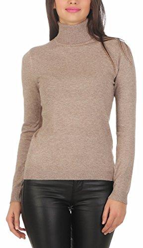 Fashion4Young 10974 Damen Feinstrick-Pullover Pulli Rollkragen Pullover Strickpullover (beige, S/M=34/36)