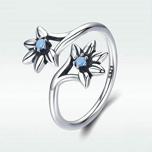 Damen Ring 925 Sterling Silber Verstellbar,Daisy Flower Blue Ring Für Frauen Engagement Schmuck Geschenk Party Kreative Sekt Süß Verschleiß Geburtstagsgeschenk Student Style