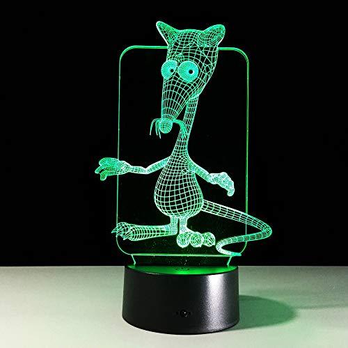 3D Illusion Nuit Lumière,Lampe de nuit 3D souris mignonne 7 colorée, changez l'éclairage de l'atmosphère en dégradé, lampe de table tactile