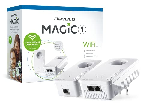 devolo Magic 1 WiFi : Starter Kit CPL pour un WiFi ac dans toute la Maison via le Réseau électrique, WiFi Mesh, Idéal pour le Télétravail et le Streaming, prises françaises