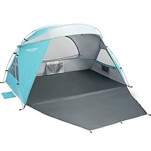 Bessport Tente de Plage pour 1 à 2 Personnes, abri de Plage, Petit Pack, Ultra-léger avec Base Extensible, Protection UPF 50+ Tente de Plage de Protection Solaire pour Famille, Jardin