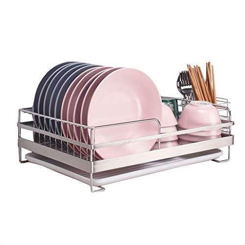 Égouttoir à vaisselle Acier inoxydable Support d'égouttoir de cuisine en acier inoxydable 304, étagère de rangement, grille de séchage de la vaisselle, grille de cuisine avec cage à baguettes et plate