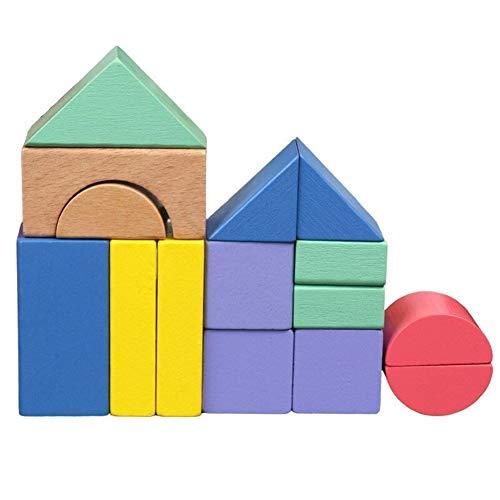 KDHJY Juguetes de Madera de Madera Bloques educativos Montessori Forma Cognitiva 15 Pcs Rainbow Bloques de construcción de Juguetes educativos for los niños