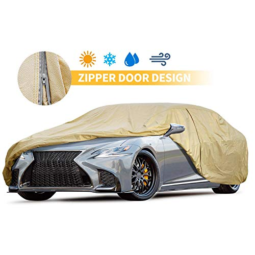 Car Cover 200 inches Gold Car Cover 5 Layers Windproof Sedan Covers Snow Resistant Full Car Cover Scratch Resistant
