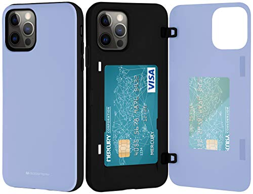 Goospery for iPhone 12/12 Pro (2020) 6.1-Inch Card Holder Wallet Case, Protective Dual Layer Bumper Phone Back Cover with Hidden Mirror (Lilac Purple) IP12P-MDB-PPL