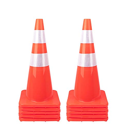"""10 Pack 28"""" Traffic Cones Plastic Road Cone PVC Safety Road Parking Cones Weighted Hazard Cones Construction Cones for Traffic Fluorescent Orange Reflective Strips Collar (10)"""