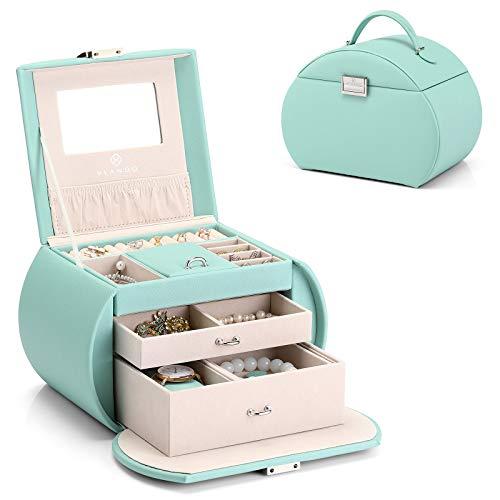 Vlando Princess Style Jewelry Box Half-Moon Design, Fabulous Girls Gift (Light Green)