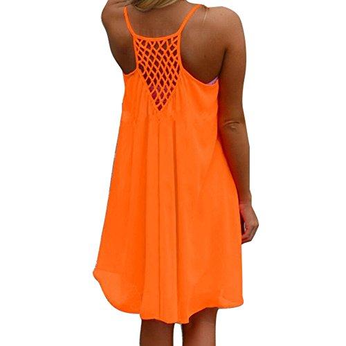 Juleya 9 Farben Damen Chiffon Strandkleid Solide Sommerkleid Frauen Ärmellos Strand Kleid Boho Halter Beiläufig Lose Tunika Blusenkleider Kurz Partykleid XS-XXXXL