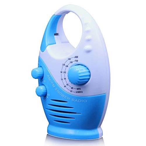 ZHURGN Radio de Ducha Impermeable Portátil, Altavoz Splash Prueba de Radio Am/FM Radio, con Mango Superior, portátil Colgante de Inserto Tarjeta Botón de baño Botón de baño Ajustable Volumen, alimen