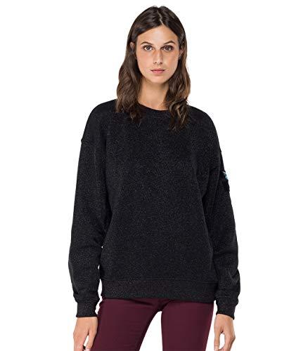 Replay Damen W3551B.000.22672 Sweatshirt, 040 Black Lurex, S