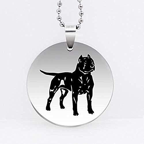 BACKZY MXJP Collar con Colgante De Pitbull De Acero Inoxidable, Collar De Perro American Staffordshire Terrier, Regalo De Joyería De Animales