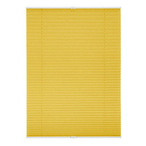 Lichtblick Plissee Klemmfix, 85 cm x 130 cm (B x L) in Gelb, ohne Bohren, Sicht- und Sonnenschutz, lichtdurchlässig & blickdicht