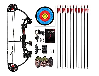 """PANDARUS Compound Bow Archery for Youth and Beginner, Right Handed,19""""-28"""" Draw Length,15-29 Lbs Draw Weight, 260 fps (Black Left Handed)"""