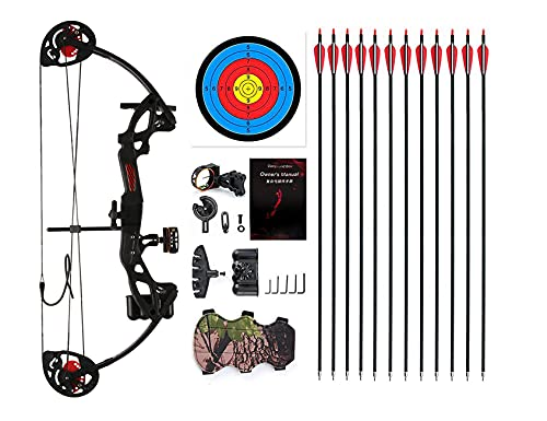 """PANDARUS Compound Bow Archery for Youth and Beginner, Right Handed,19""""-28"""" Draw Length,15-29 Lbs Draw Weight, 260 fps (Black)"""