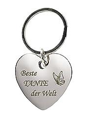 """Schlüsselanhänger Herz mit Gravur""""Beste Tante der Welt"""" mit Schmetterling - Geschenke - als Geschenk zu Weihnachten für die Lieblingstante"""
