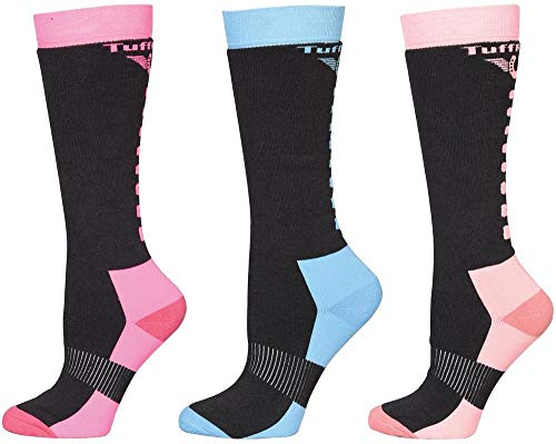 TuffRider Riding sock pack of 3 assorted one size,Charcoal/Neon Pink, Charcoal/Neon Blue, Charcoal/Neon Peach,One Size