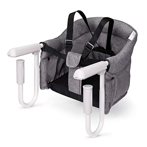 VEEYOO Hook On High Chair - Compact Fold Clip On High Chair for Baby Toddler, Machine Washable Portable High Chair for Travel or Restaurants (Grey)