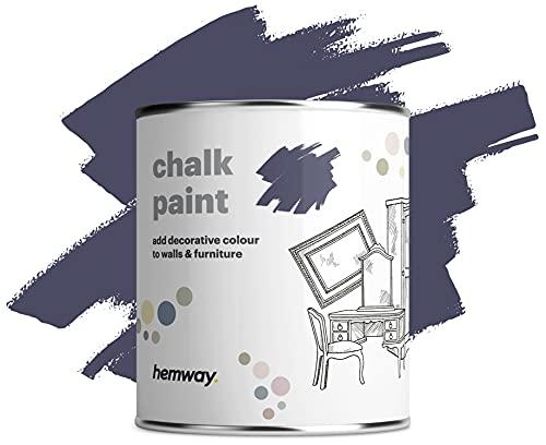 Hemway Kreidefarbe, matt, Shabby-Chic-Stil, 1 l, dunkles Lavendel, geeignet für Innenmöbel, Kleiderschränke, Regale, Tische und Stühle, schnell trocknend, Kreide-Finish, glatte Oberfläche