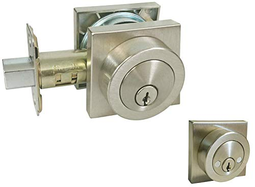 Satin Nickel Lock Door Square Plate Lever Handle Entry/Privacy/Passage/Dummy/Deadbolt/Handleset 8048DC (Double Cylinder Deadbolt (keyed on Both Sides) (Kwikset Keyway Keyed Alike))