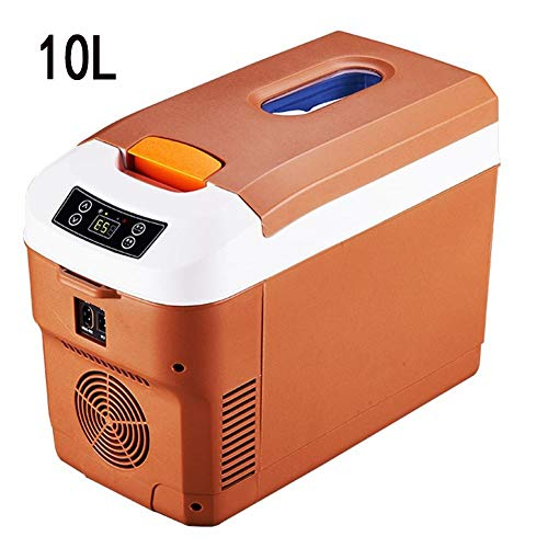 Lyy - 8866 Kühlschrank Kühl Gefrier Gefrierschrank Auto kühlschrank, tragbare Thermoelektrische Kfz-Wärme- & Kühl-Box, 10L, 12V, 220V, für Auto und Camping Autokühlschrank (Color : Brown)