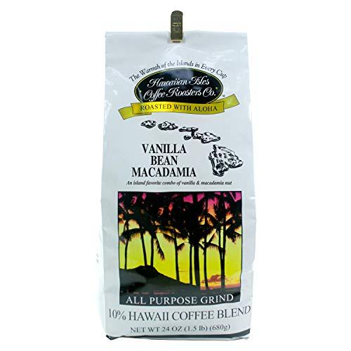 Vanilla Bean Macadamia Hawaiian Coffee 24 ounce ground coffee