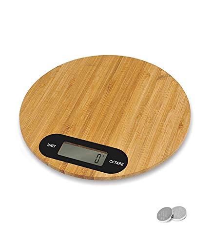 PRITECH - Báscula Digital de bambú Resistente para Cocina, Peso máximo 5Kg y Alta precisión, Auto Apagado y Función de Tara, Pila incluida (Redonda)