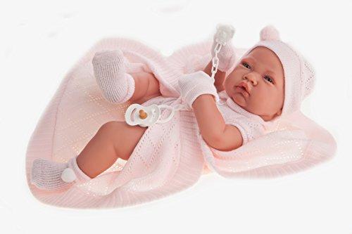 Antonio Juan Puppe neugeborenes Baby mit Mütze 42 cm Rosa