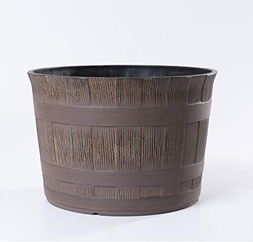 Jinfa | Vaso per fiori in plastica effetto mezza botte | Marrone rustico | HDFG-175-B | Diametro: 35 cm, Altezza: 24 cm | Ideale per interni ed esterni