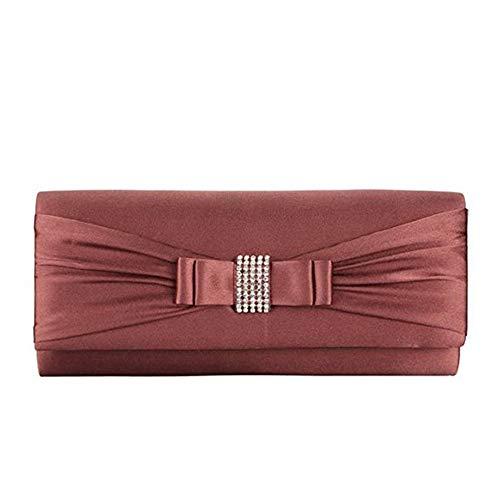 Grace Angel GALU4126E Damen Handtasche mit Schleife und Strasssteinen, Braun (braun), Medium